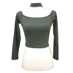 Seek the Label Cold Shoulder Choker Crop Sweater